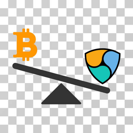 Bitcoin Nem Balance Swing vector pictogram. Illustration style is flat iconic symbol on a chess transparent background.