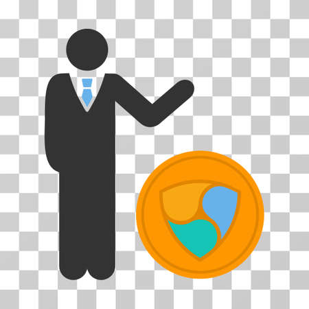 Businessman Show Nem Coin vector pictograph. Illustration style is flat iconic symbol on a chess transparent background. Illustration