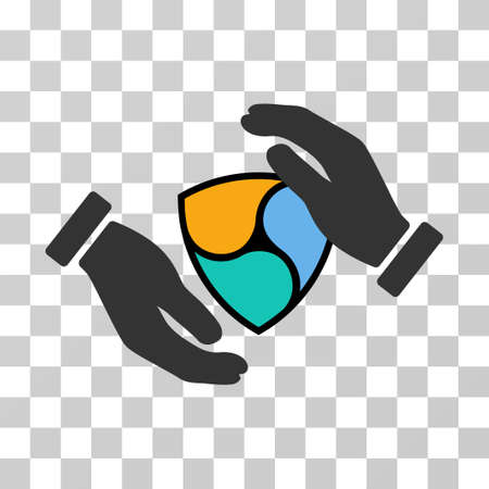 Nem Protection Hands vector pictogram. Illustration style is flat iconic symbol on a chess transparent background. Illustration
