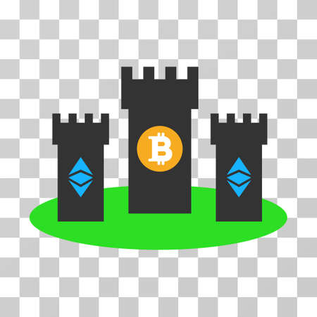 Bitcoin Citadel vector pictogram. Illustration style is flat iconic symbol on a chess transparent background. 일러스트