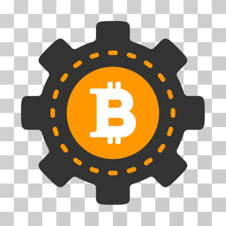 Bitcoin Configuration Gear vector icon. Illustration style is flat iconic symbol on a chess transparent background. Illustration