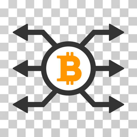 Bitcoin Node Cashout vector pictograph. Illustration style is flat iconic symbol on a chess transparent background. Illustration