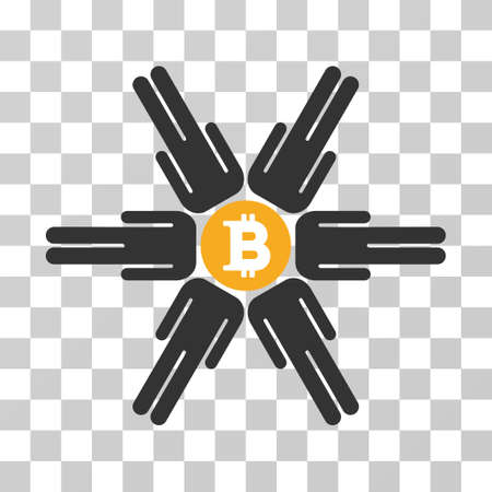 Bitcoin Pool Community vector pictograph. Illustration style is flat iconic symbol on a chess transparent background.
