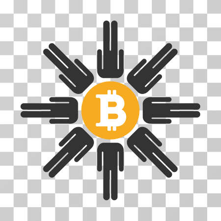 Bitcoin Pool Users vector pictogram. Illustration style is flat iconic symbol on a chess transparent background.