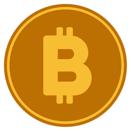 Bitcoin Coin flat raster illustration. An isolated icon on a white background. Zdjęcie Seryjne