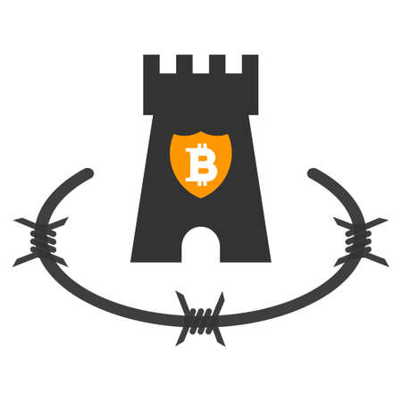 Bitcoin Bastion flat raster pictograph. An isolated icon on a white background.