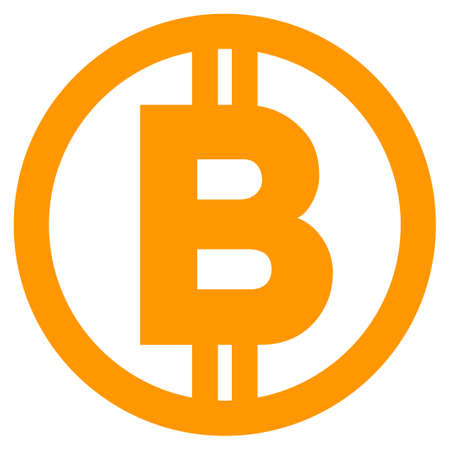 Bitcoin flat raster icon. An isolated icon on a white background.