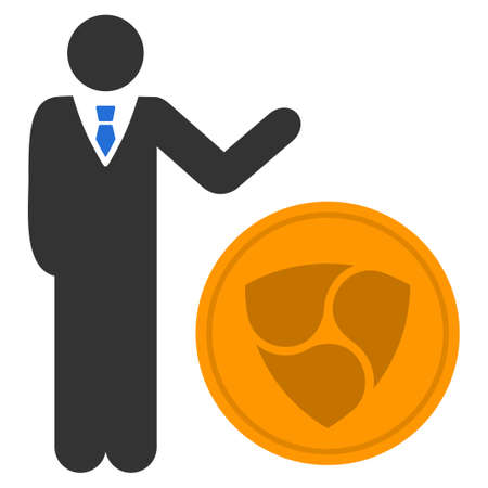 Businessman Show Nem Coin flat raster pictogram. An isolated icon on a white background. Stock Photo