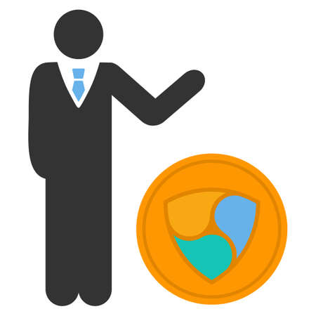 Businessman Show Nem Coin flat raster illustration. An isolated icon on a white background.