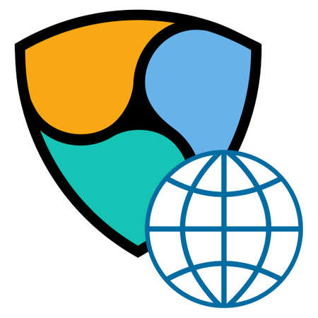 Nem Global Web flat raster pictogram. An isolated icon on a white background.