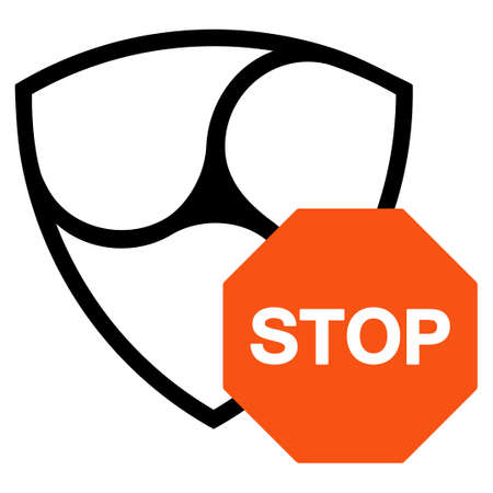 Nem Stop Sign flat raster illustration. An isolated icon on a white background.