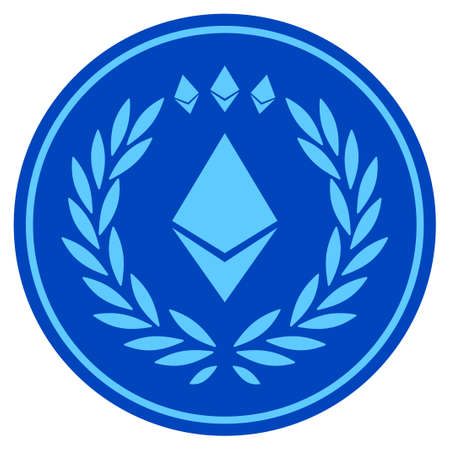 Ethereum Coin flat raster pictogram. An isolated icon on a white background.