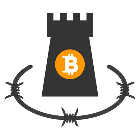 Bitcoin Barbwire Bulwark flat raster pictograph. An isolated icon on a white background.