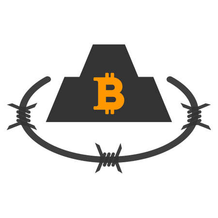 Bitcoin Barbwire Citadel flat raster pictogram. An isolated icon on a white background. Stock Photo