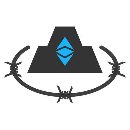 Ethereum Classic Citadel flat raster pictogram. An isolated icon on a white background.