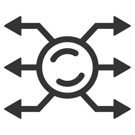 Mixer Node Connections flat raster illustration. An isolated icon on a white background.