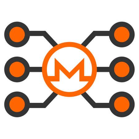 Monero Masternode Network flat raster icon. An isolated icon on a white background.