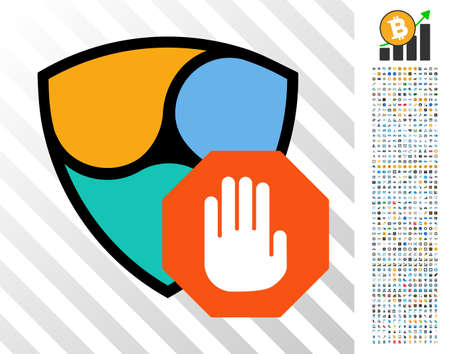Nem Stop Hand pictograph with 7 hundred bonus bitcoin mining and blockchain pictures. Vector illustration style is flat iconic symbols design for bitcoin apps.