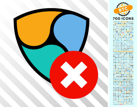 Nem Delete pictograph with 700 bonus bitcoin mining and blockchain pictures. Vector illustration style is flat iconic symbols design for crypto currency apps.