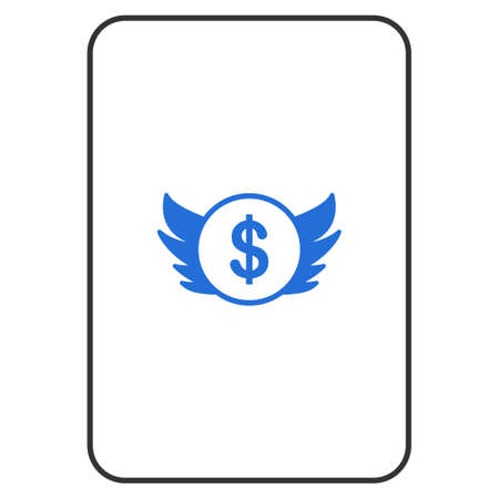 Angel Investment playing card pictogram. Vector style is a flat symbol of angel investment on a gambling card.