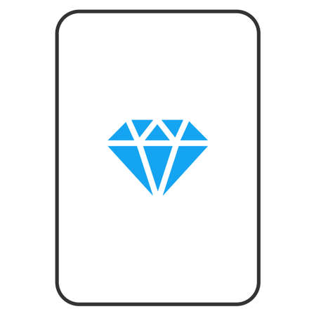 Brilliant playing card pictogram. Vector style is a flat symbol of brilliant on a gambling card.