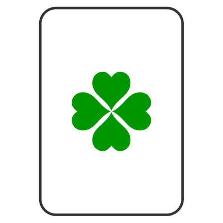 Lucky Clover playing card pictograph. Vector style is a flat symbol of lucky clover on a gambling card. Illustration