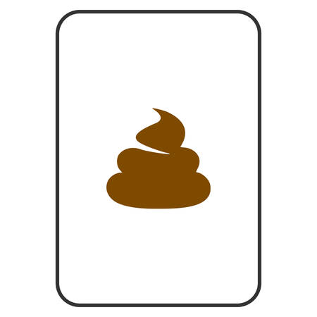Poop playing card pictograph. Vector style is a flat symbol of poop on a gambling card. Illustration