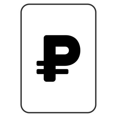 Rouble playing card pictograph. Vector style is a flat symbol of rouble on a gambling card. Ilustração