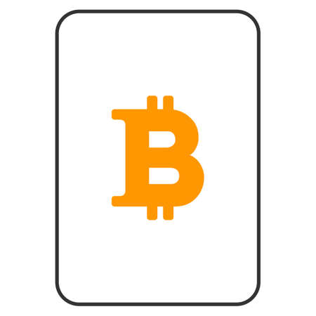 Bitcoin playing card pictogram. Raster style is a flat symbol of bitcoin on a gambling card. Zdjęcie Seryjne