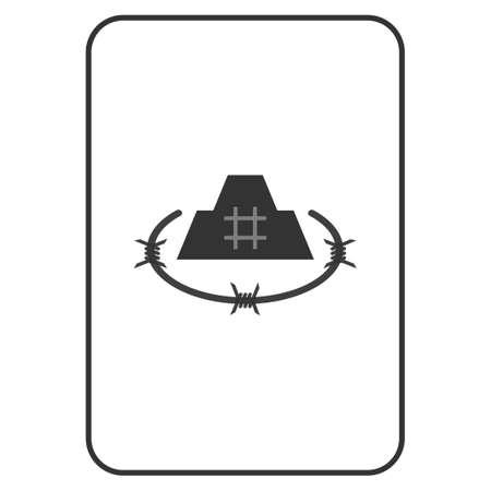 감옥 성채 카드 놀이 그림입니다. 벡터 스타일은 도박 카드에 감옥 요새의 평면 기호입니다.