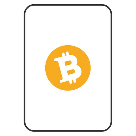 Bitcoin playing card icon. Raster style is a flat symbol of bitcoin on a gambling card.