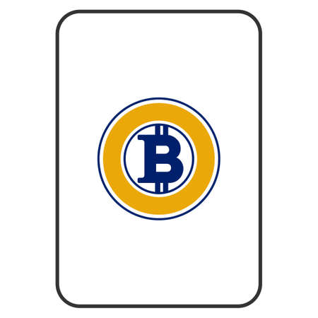 Bitcoin Gold playing card pictograph. Raster style is a flat symbol of bitcoin gold on a gambling card.