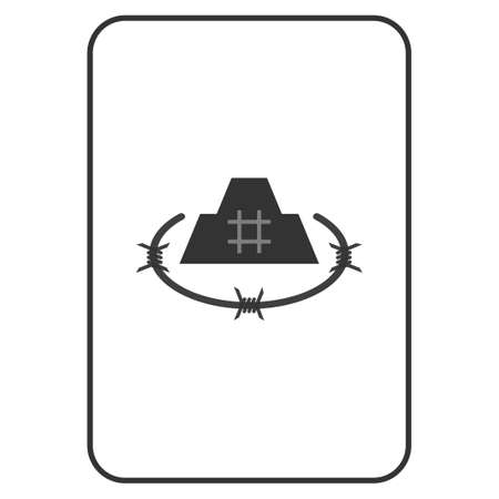 Prison Citadel playing card pictogram. Raster style is a flat symbol of prison citadel on a gambling card.