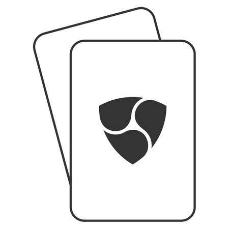 Nem Currency playing cards pictogram. Vector style is gambling card with nem currency symbol.