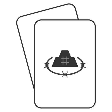 Prison Fortress playing cards icon. Vector style is gambling card with prison fortress symbol.