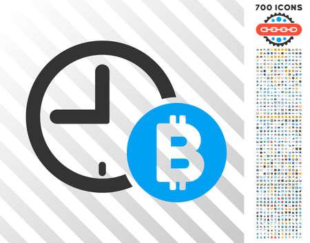 Bitcoin Credit Clock icon with 700 bonus bitcoin mining and blockchain symbols. Vector illustration style is flat iconic symbols design for bitcoin websites.