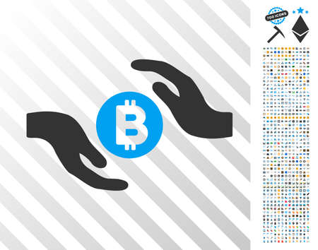 Bitcoin Care Hands icon with 700 bonus bitcoin mining and blockchain pictures. Vector illustration style is flat iconic symbols design for crypto currency software.