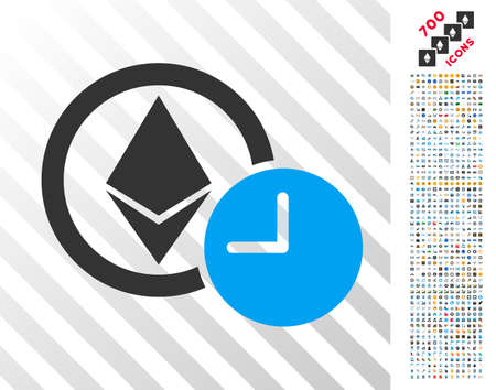 Ethereum Credit Clock pictograph with 700 bonus bitcoin mining and blockchain images. Vector illustration style is flat iconic symbols design for bitcoin software.