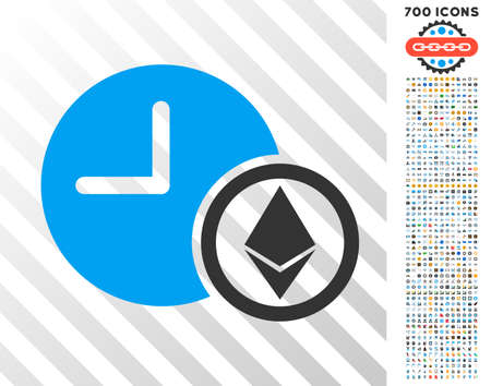 Ethereum Credit Clock pictograph with 7 hundred bonus bitcoin mining and blockchain clip art. Vector illustration style is flat iconic symbols design for cryptocurrency websites. Illustration