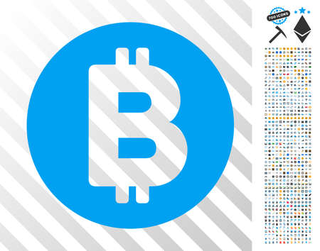 Bitcoin pictograph with 7 hundred bonus bitcoin mining and blockchain images. Vector illustration style is flat iconic symbols design for crypto-currency websites. Ilustracja