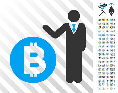 Bitcoin Banker icon with 700 bonus bitcoin mining and blockchain symbols. Vector illustration style is flat iconic symbols design for cryptocurrency apps.