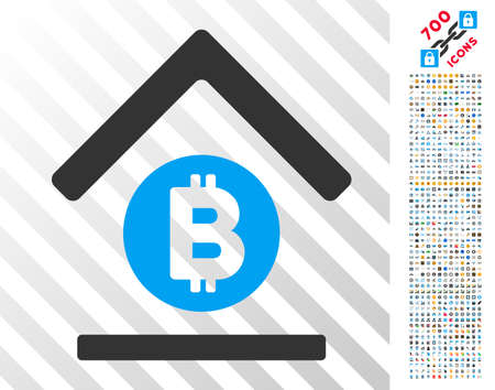 Bitcoin Bank Roof icon with 7 hundred bonus bitcoin mining and blockchain pictograms. Vector illustration style is flat iconic symbols design for crypto currency websites.