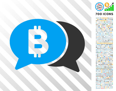 Bitcoin Chat pictograph with 7 hundred bonus bitcoin mining and blockchain clip art. Vector illustration style is flat iconic symbols design for cryptocurrency software.