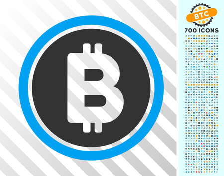 Bitcoin Coin pictograph with 700 bonus bitcoin mining and blockchain pictures. Vector illustration style is flat iconic symbols design for crypto currency websites.