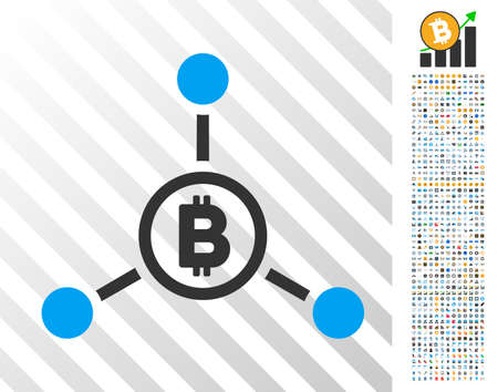 Bitcoin Connections pictograph with 7 hundred bonus bitcoin mining and blockchain graphic icons. Vector illustration style is flat iconic symbols design for crypto currency websites. Illustration