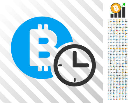 Bitcoin Credit Clock pictograph with 7 hundred bonus bitcoin mining and blockchain images. Vector illustration style is flat iconic symbols design for crypto currency websites.