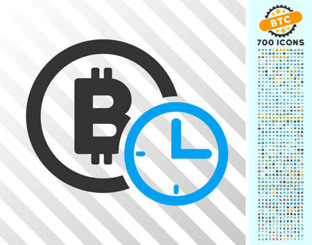 Bitcoin Credit Time icon with 700 bonus bitcoin mining and blockchain design elements. Vector illustration style is flat iconic symbols design for bitcoin websites. Illustration