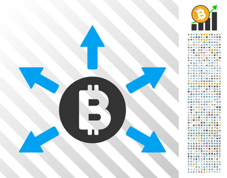 Bitcoin Emission pictograph with 700 bonus bitcoin mining and blockchain icons. Vector illustration style is flat iconic symbols design for crypto-currency apps.