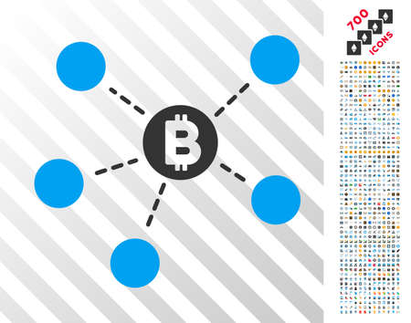 Bitcoin Net Structure pictograph with 7 hundred bonus bitcoin mining and blockchain pictures. Vector illustration style is flat iconic symbols design for crypto currency apps. Illustration