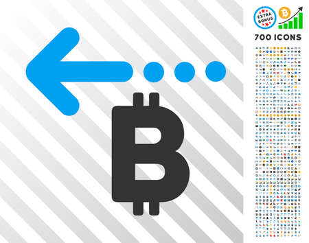 Bitcoin Refund Back icon with 7 hundred bonus bitcoin mining and blockchain icons. Vector illustration style is flat iconic symbols design for cryptocurrency software.